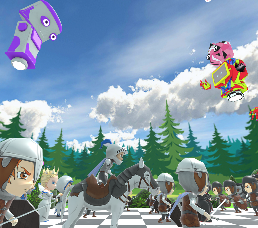 Two player avatars hover over the chess board